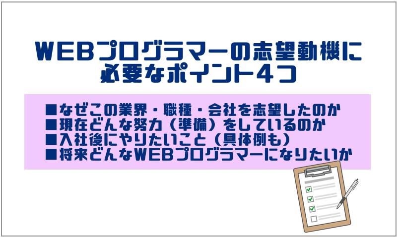2.WEBプログラマーの志望動機に必要なポイント4つ
